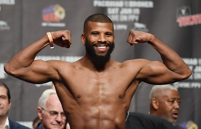 LAS VEGAS, NEVADA - JANUARY 18: Badou Jack poses on the scale during his official weigh-in at MGM Grand Garden Arena on January 18, 2019 in Las Vegas, Nevada. Jack will face Marcus Browne for the interim WBA light heavyweight title on January 19 at MGM Grand Garden Arena in Las Vegas. (Photo by Ethan Miller/Getty Images)