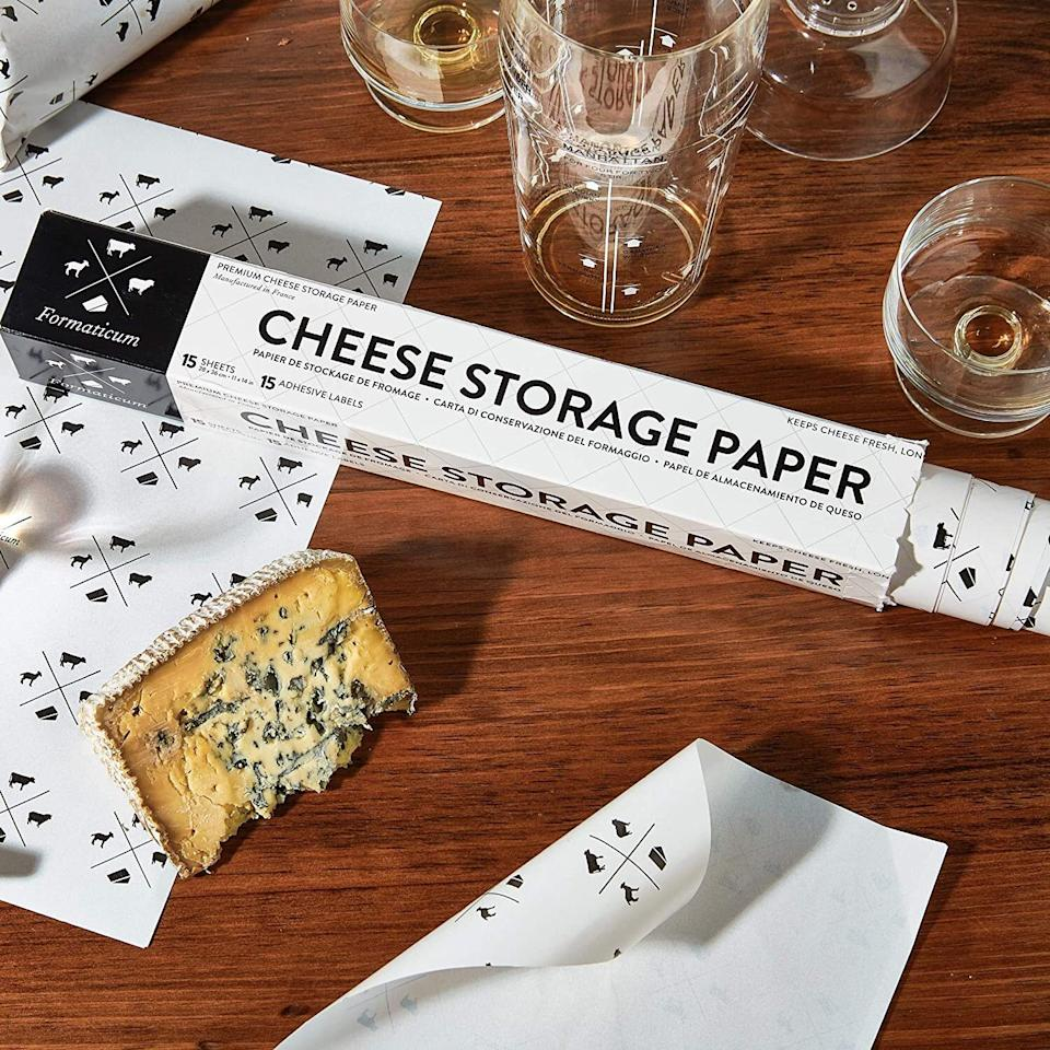 """Perfectfor preserving the freshness of your cheesy goodness. There is nothing more disappointing then pouring yourself a glass of wine, opening the fridge to take out the cheese that'll accompany said wine, and realizing it's moldy.<br /><br /><strong>Promising review:</strong>""""Before I bought this cheese paper I would do the cheese search in the refrigerator. After buying cheeses, opening them, and then rewrapping them in heaven knows what (namely plastic wrap, aluminum foil, and plastic containers), it was always the same result: moldy cheese. This box contains the paper in sheets plus some stickers that you can write on with the name of the cheese and the date it was wrapped or even sell by date. There are also pictures of a sheep, cow, and goat so the source can be identified by circling or checking one of them! What I also like is that the cheeses can be rewrapped after use and amazingly the stickers still stick! The paper can also be cut to size to wrap smaller cheeses. So far I have noted that the cheeses have stayed fresh with not a trace of mold. I highly recommend this product to all cheese lovers!"""" — <a href=""""https://www.amazon.com/gp/customer-reviews/R234PUD1W84L9S?&linkCode=ll2&tag=huffpost-bfsyndication-20&linkId=a5c107441e008923e2fb257453623503&language=en_US&ref_=as_li_ss_tl"""" target=""""_blank"""" rel=""""noopener noreferrer"""">prairie woman</a><br /><br /><strong><a href=""""https://www.amazon.com/Formaticum-Cheese-Storage-Wax-Coated-Charcuterie/dp/B002I47P40?&linkCode=ll1&tag=huffpost-bfsyndication-20&linkId=39868290a6d9634d84f7d677a7405e70&language=en_US&ref_=as_li_ss_tl"""" target=""""_blank"""" rel=""""noopener noreferrer"""">Get a pack of 15 from Amazon for $14.</a></strong>"""