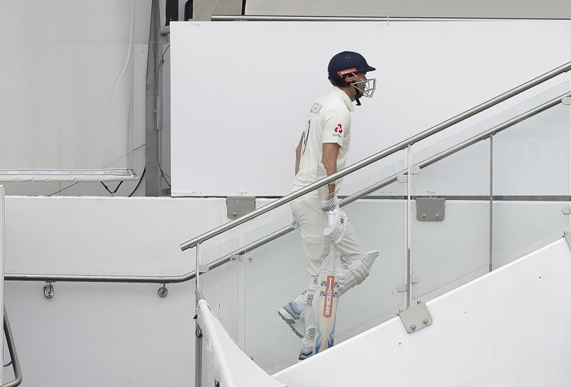 BIRMINGHAM, ENGLAND - AUGUST 03: James Anderson of England looks dejected after being dismissed by Nathan Lyon of Australia during day three of the 1st Specsavers Ashes Test between England and Australia at Edgbaston on August 03, 2019 in Birmingham, England. (Photo by Ryan Pierse/Getty Images)