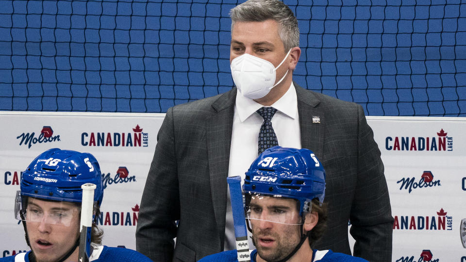 The Toronto Maple Leafs have allowed Sheldon Keefe to focus on the present. (Photo by Andrew Lahodynskyj/NHLI via Getty Images)