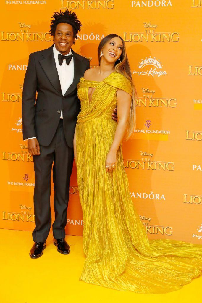 """<p>The rapper attended the London premiere of The Lion King, where Beyoncé voiced the part of Nala in the live action remake opposite Donald Glover.</p><p>While at the premiere, the pair mingled with royalty, as they were <a href=""""https://www.elle.com/uk/life-and-culture/a28376968/meghan-markle-beyonce-lion-king/"""" rel=""""nofollow noopener"""" target=""""_blank"""" data-ylk=""""slk:photographed meeting Meghan Markle and Prince Harry"""" class=""""link rapid-noclick-resp"""">photographed meeting Meghan Markle and Prince Harry</a>.</p>"""