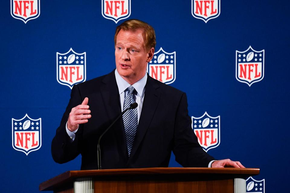 National Football League commissioner Roger Goodell speaks during a press conference on September 19, 2014 in New York (AFP Photo/Alex Goodlett)