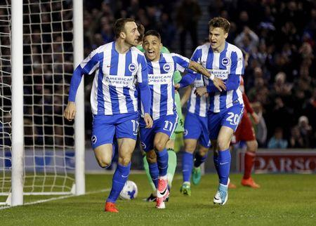 Glenn Murray of Brighton and Hove Albion celebrates after scoring their first goal