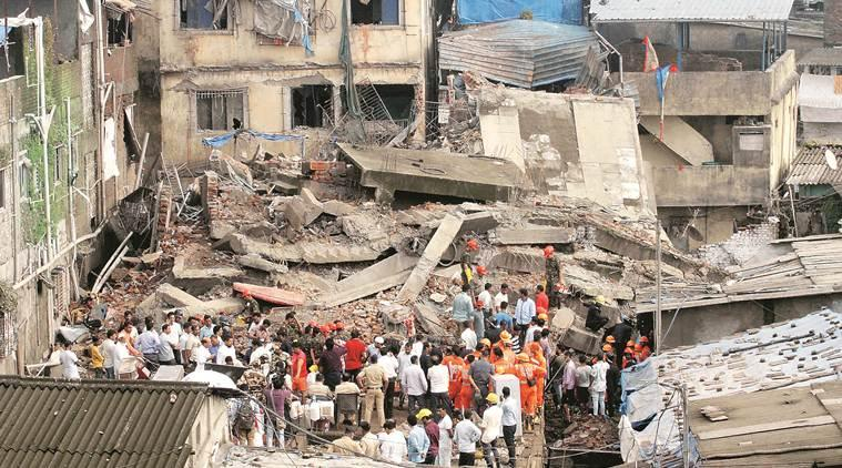building collapse, building collapse in mumbai, thane building collapse, bhiwandi, police, thane news, mumbai news, indian express news