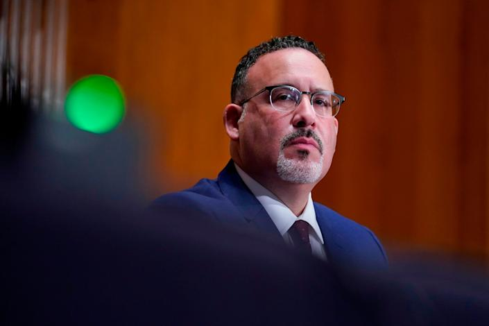 Miguel A. Cardona at his confirmation hearing to be secretary of education. He officially took on the role Tuesday. (Photo: SUSAN WALSH via Getty Images)