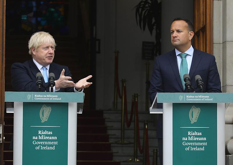 Britain's prime minister Boris Johnson, left, and Irish PM Leo Varadkar at a join press conference in Dublin earlier this month. Photo: Lorraine O'Sullivan/AFP/Getty
