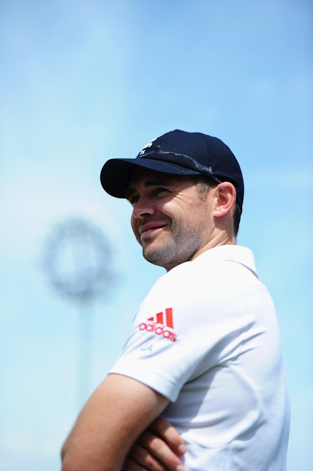 NOTTINGHAM, ENGLAND - JULY 14: Man of the Match James Anderson of England smiles after his team's victory during day five of the 1st Investec Ashes Test match between England and Australia at Trent Bridge Cricket Ground on July 14, 2013 in Nottingham, England. (Photo by Laurence Griffiths/Getty Images)