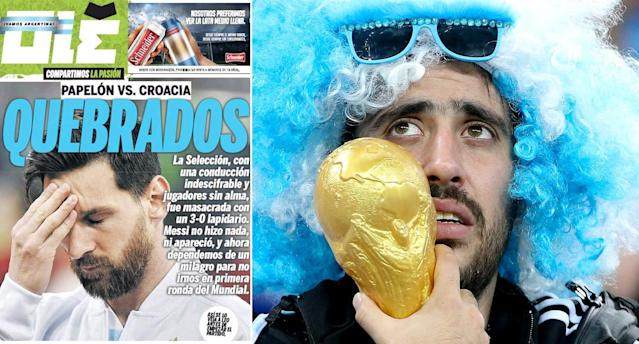 Argentina newspaper 'Ole' brands the national team 'Broken' after their 3-0 defeat. (Twitter/Getty)