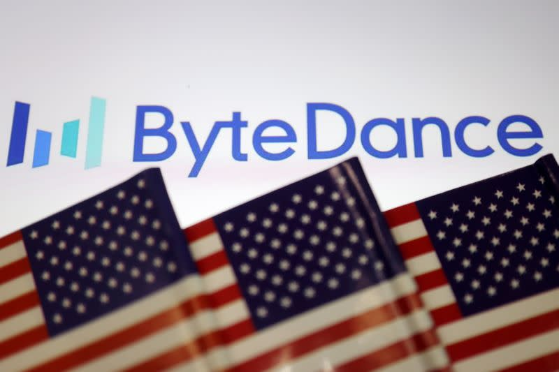 Illustration picture of Bytedance logo with U.S. flags