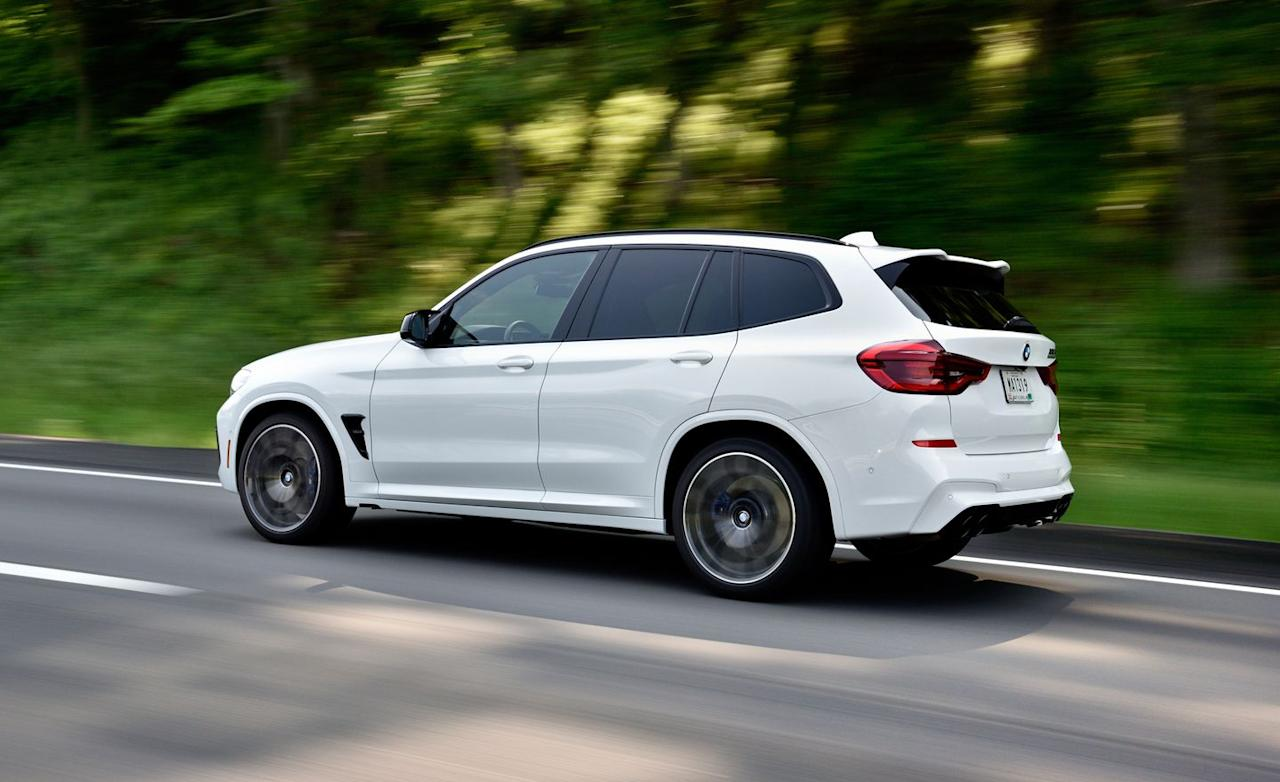 <p>Numerous chassis braces as well as stiffer springs, bushings, and anti-roll bars account for the X3 M's sharper moves over the X3 M40i.</p>