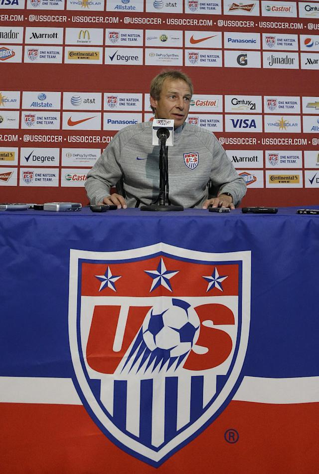 United States soccer coach Jurgen Klinsmann speaks at a news conference for the World Cup soccer tournament in Stanford, Calif., Friday, May 23, 2014. (AP Photo/Jeff Chiu)