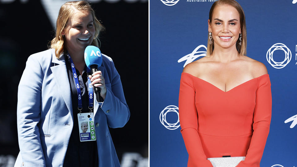 Jelena Dokic, pictured here in 2021 and 2020.