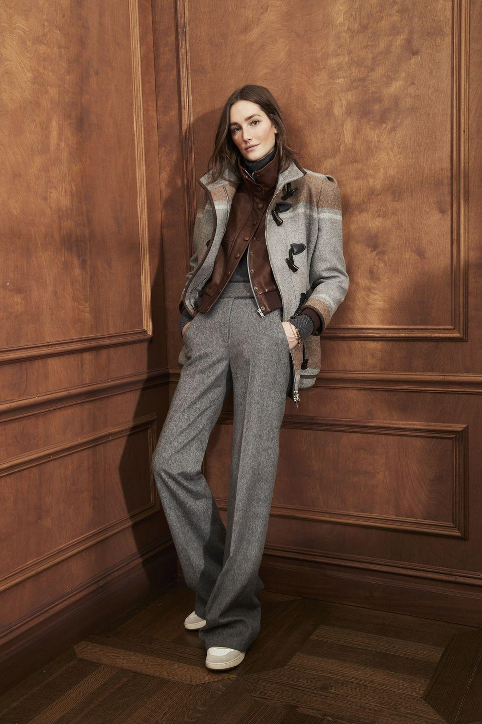 "<p>Autumn/winter 2021 was all about casual tailoring for Veronica Beard with the two namesake designers wanting to keep the ""new normal in mind"". </p><p>""Sweatsuits are worn with tailoring that features knitted cuffs for a relaxed and elevated look, while jumpsuits become the new two-piece suit, perfect for dressing up or dressing down,"" they explained. Plaid, stripes and paisley were met with warm greys and browns, while there are plenty of pieces designed for layering, making for an easy-to-wear but elevated wardrobe.</p>"