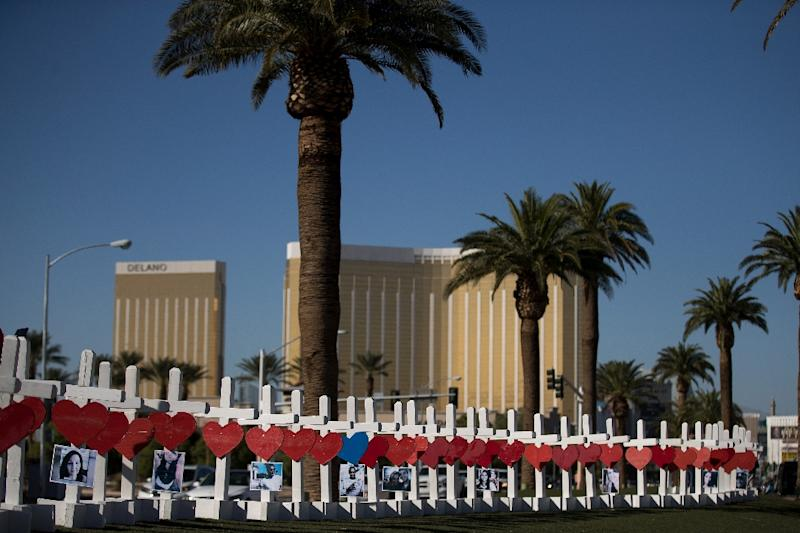 White crosses commemorate the victims of the October 1, 2017 massacre of victims at a country music concert in Las Vegas (AFP Photo/Drew Angerer)