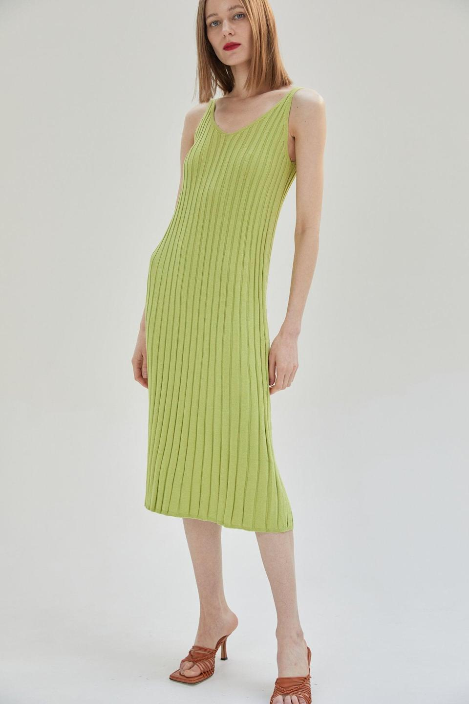 <p><span>Source Unknown Ribbed V-Shaped Knit Dress in Lime</span> ($66)</p>