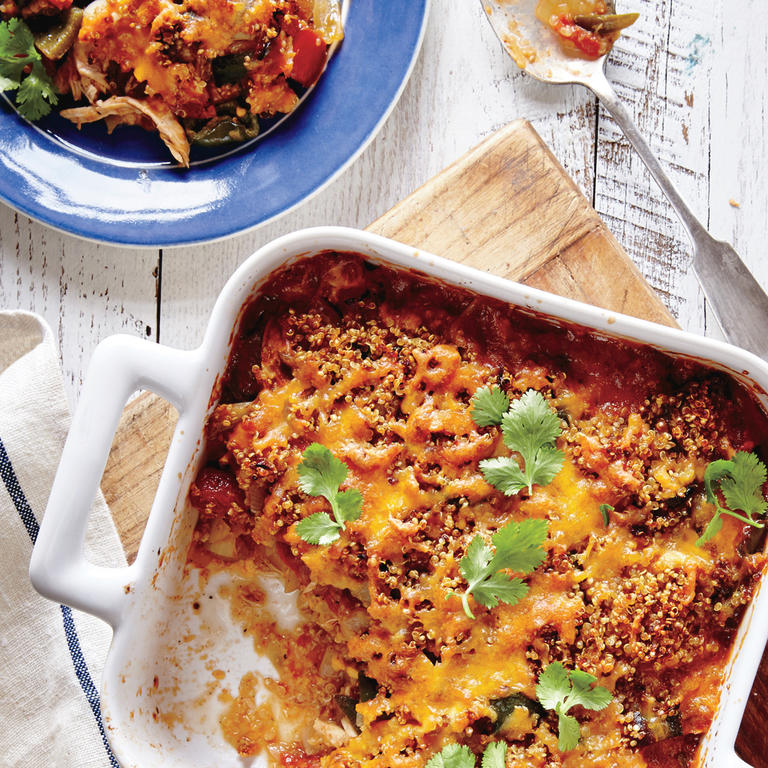"""This ain't your mama's chicken casserole. The comfort food classic gets a modern, nutrient-dense makeover with the addition of quinoa. Beyond being warm, cheesy, and generally delightful, this flavor-packed casserole is loaded with protein and is sure to become a new family favorite.   <a rel=""""nofollow"""" href=""""http://www.myrecipes.com/recipe/king-ranch-chicken-quinoa-casserole"""">King Ranch Chicken and Quinoa Casserole </a>"""