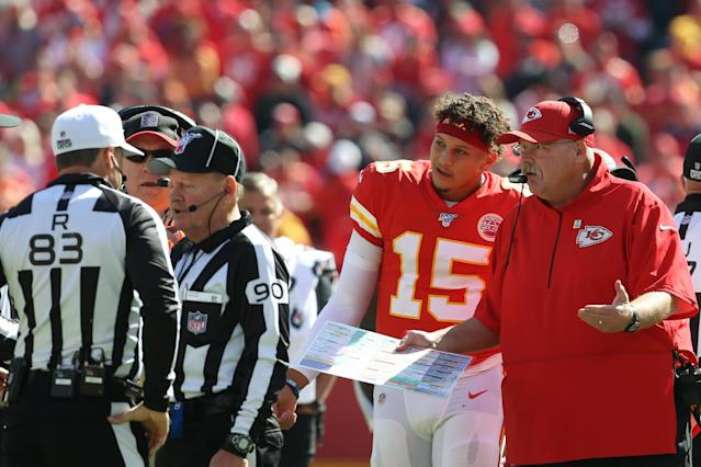 Kansas City Chiefs quarterback Patrick Mahomes and coach Andy Reid have lost two games in a row. (Getty Images)