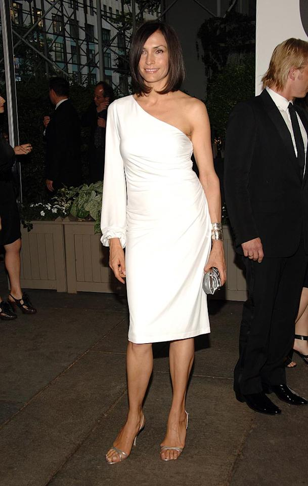 """Famke Janssen accentuated her perfect curves in a sexy white dress. The dark 'do was also fabu! Jamie McCarthy/<a href=""""http://www.wireimage.com"""" target=""""new"""">WireImage.com</a> - June 2, 2008"""