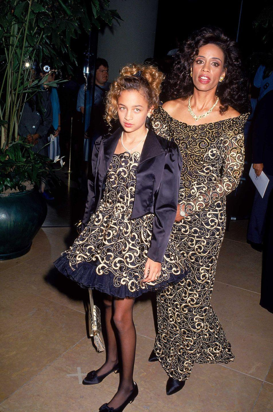 <p>Matching dresses for a young Nicole Richie and mother Brenda Harvey Richie at an event in 1992. </p>