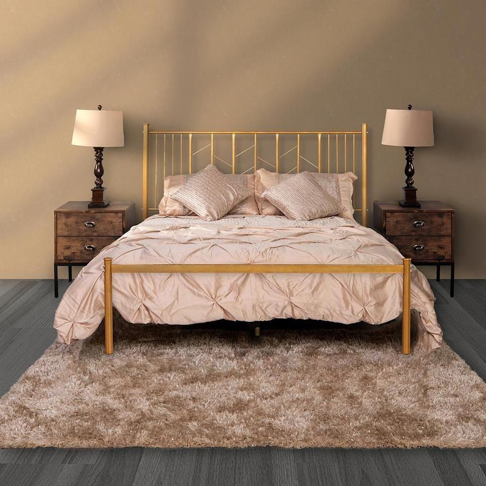 """<p><strong>FurnitureR</strong></p><p>homedepot.com</p><p><strong>$150.04</strong></p><p><a href=""""https://go.redirectingat.com?id=74968X1596630&url=https%3A%2F%2Fwww.homedepot.com%2Fp%2FFurnitureR-Gold-Full-Standard-Bed-Metal-Bed-Frame-Platform-Bed-MIYE-FULL-GOLD%2F314955762&sref=https%3A%2F%2Fwww.cosmopolitan.com%2Flifestyle%2Fg34968161%2Fbest-cheap-bed-frames%2F"""" rel=""""nofollow noopener"""" target=""""_blank"""" data-ylk=""""slk:Shop Now"""" class=""""link rapid-noclick-resp"""">Shop Now</a></p><p>Give your room some glam with this gold frame. Pair with these <a href=""""https://www.cosmopolitan.com/lifestyle/g33635105/black-owned-bedding-sheets-brands/"""" rel=""""nofollow noopener"""" target=""""_blank"""" data-ylk=""""slk:covers"""" class=""""link rapid-noclick-resp"""">covers</a> to complete the ~fancy~ vibes. </p>"""