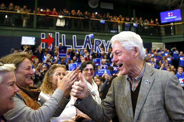 <p>Former President Bill Clinton gestures to supporters before introducing wife Hillary at a campaign rally at Nashua Community College, in Nashua, N.H., Feb. 2, 2016. <i>(Photo: Adrees Latif/Reuters)</i></p>