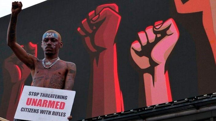 An End Sars protester with a raised fist