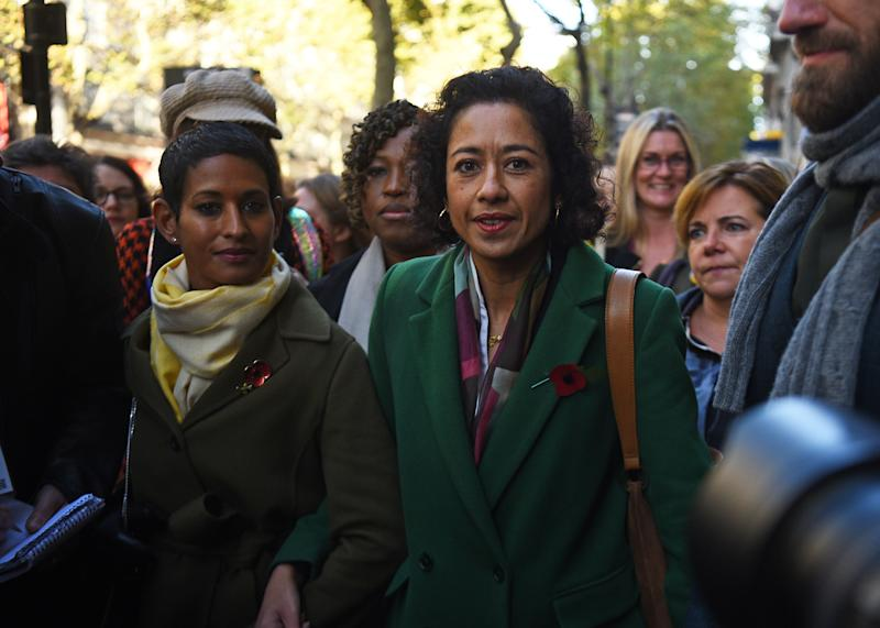 Journalist, writer and broadcaster Samira Ahmed (right) and Naga Munchetty (left) arrive at the Central London Employment Tribunal, Victory House, London.