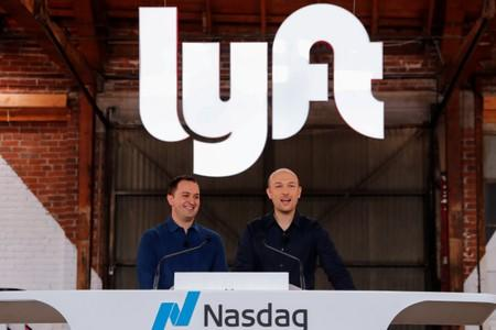 uFILE PHOTO: Lyft President John Zimmer and CEO Logan Green speak as their company Lyft lists on the Nasdaq at an IPO event in Los Angeles