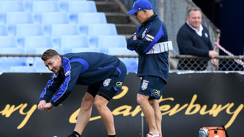 Terry Lamb, pictured here watching over Kieran Foran at the Bulldogs training session.