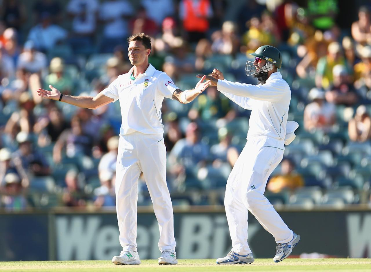 PERTH, AUSTRALIA - DECEMBER 03:  Dale Steyn of South Africa celebrates winning the match with Hashim Amla after taking the wicket of Nathan Lyon of Australia during day four of the Third Test Match between Australia and South Africa at WACA on December 3, 2012 in Perth, Australia.  (Photo by Robert Cianflone/Getty Images)