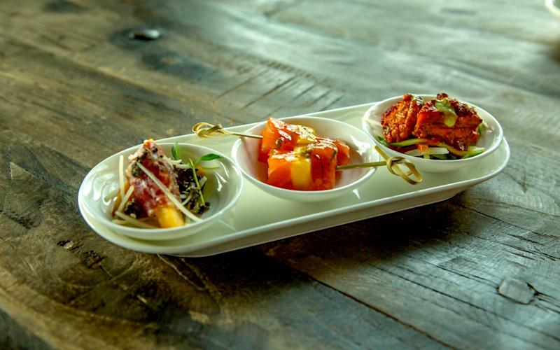 Pictured are finished canapé selections served to first class passengers. | Talia Avakian