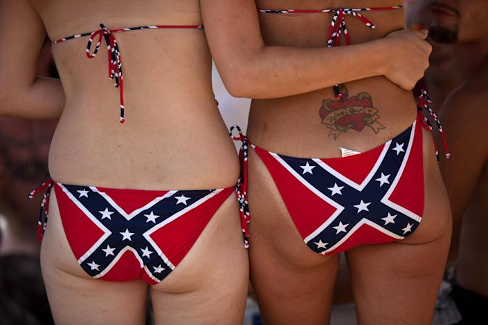 Two young women wear Confederate flag bikinis during the annual Summer Redneck Games, July 9, 2011, in East Dublin, Ga. (Photo: Richard Ellis/Getty Images)