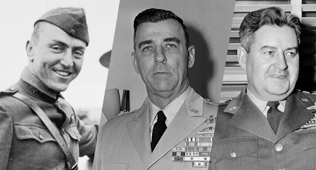 Aviator and Captain Eddie Rickenbacker, Maj. Gen. Edwin A. Walker and Gen. Curtis E. LeMay (Photos: AP)