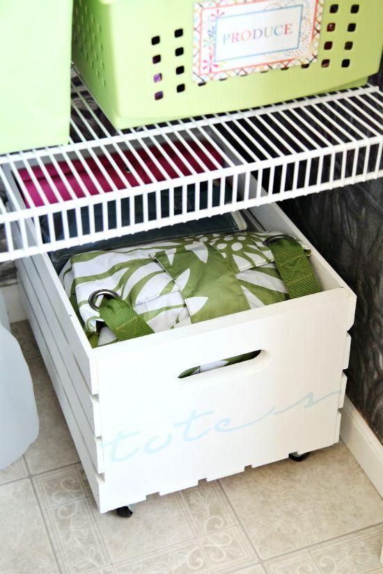 """<p><a class=""""link rapid-noclick-resp"""" href=""""https://www.amazon.com/Demis-2484-Decorative-Storage-Crate/dp/B00T5UHZ8G?tag=syn-yahoo-20&ascsubtag=%5Bartid%7C10057.g.3036%5Bsrc%7Cyahoo-us"""" rel=""""nofollow noopener"""" target=""""_blank"""" data-ylk=""""slk:BUY NOW"""">BUY NOW</a> <strong><em>Wood Crate, $19, amazon.com</em></strong></p><p>All it takes is a wood crate and wheels to take advantage of that little gap of under-used space on your floor. Since stuff stored here is harder to get to, keep things you don't use everyday, like reusable totes in it.</p><p>See more at <a href=""""http://www.iheartorganizing.com/2012/07/great-crate-pantry-storage.html"""" rel=""""nofollow noopener"""" target=""""_blank"""" data-ylk=""""slk:I Heart Organizing"""" class=""""link rapid-noclick-resp"""">I Heart Organizing</a>.</p>"""
