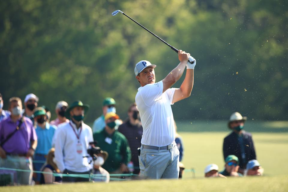 Bryson DeChambeau plays in a practice round before the 2021 Masters.