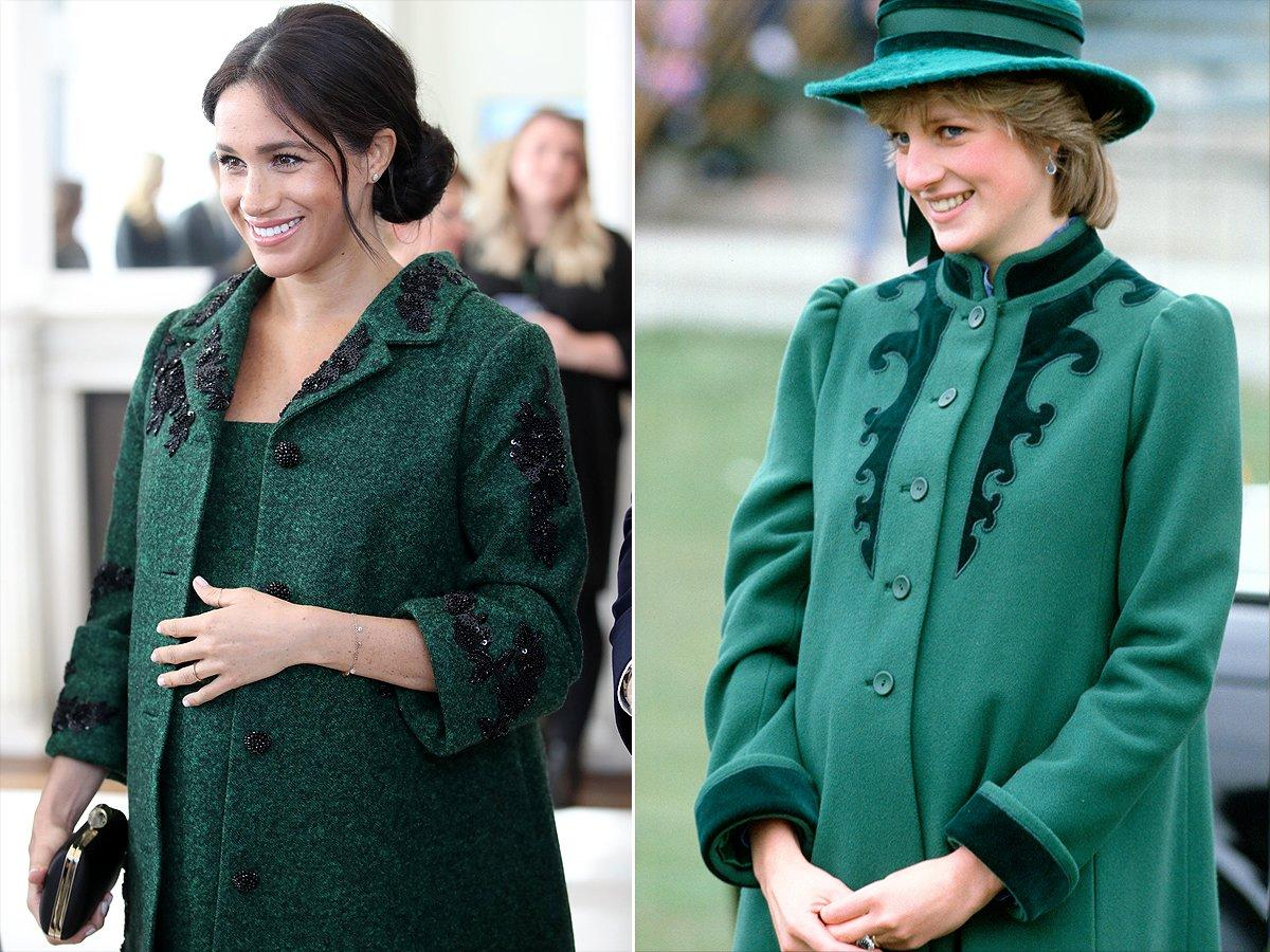 "Long coats have been a staple of <a rel=""nofollow"" href=""https://people.com/tag/meghan-markle/"">Meghan Markle</a>'s maternity wardrobe all winter long, but one was a total throwback to <a rel=""nofollow"" href=""https://people.com/tag/princess-diana/"">Princess Diana</a> while she was expecting. Meghan completely channeled her late mother-in-law in a green Erdem jacket with floral appliques – just like one Diana wore during a visit to Bristol while pregnant with her first son, Prince William."