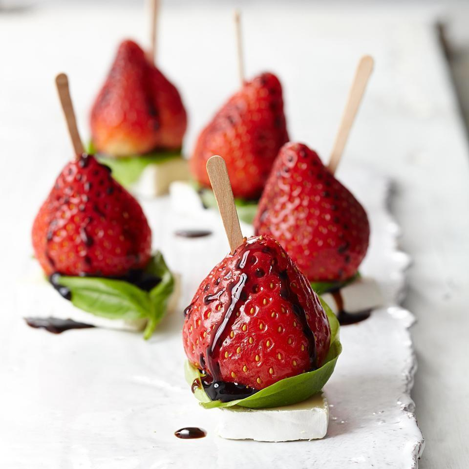 <p>Strawberries, Brie cheese, fresh basil and balsamic vinegar come together in this addictive one-bite appetizer recipe.</p>