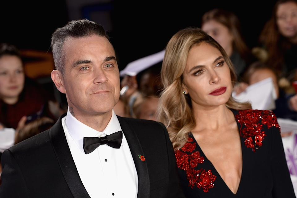 Robbie Williams and Ayda Field attend the Pride of Britain Awards 2018 at The Grosvenor House Hotel on October 29, 2018 in London, England.  (Photo by Jeff Spicer/Getty Images)