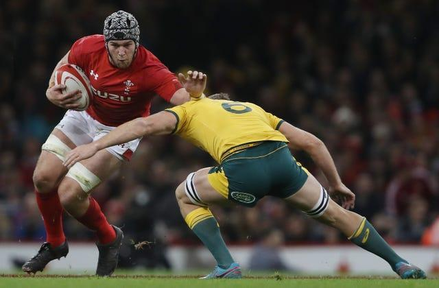 Dan Lydiate, left, in action for Wales