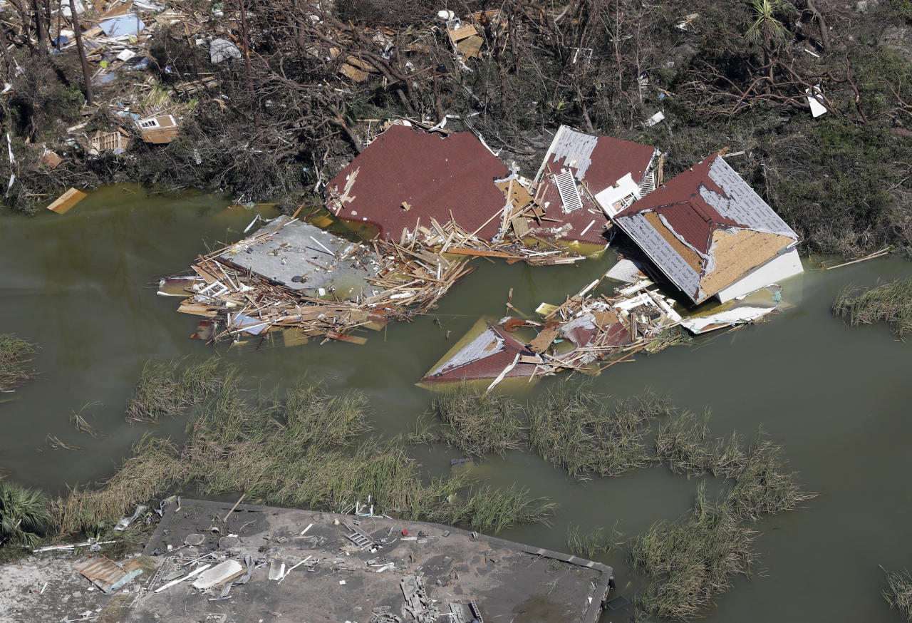 <p>Homes destroyed by Hurricane Michael are shown in this aerial photo Thursday, Oct. 11, 2018, in Mexico Beach, Fla. (Photo: Chris O'Meara/AP) </p>