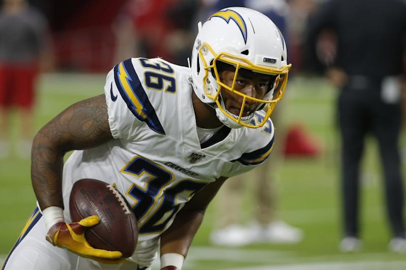 Chargers defensive back Roderic Teamer Jr. warms up before a preseason game against the Cardinals on Aug. 8, 2019.