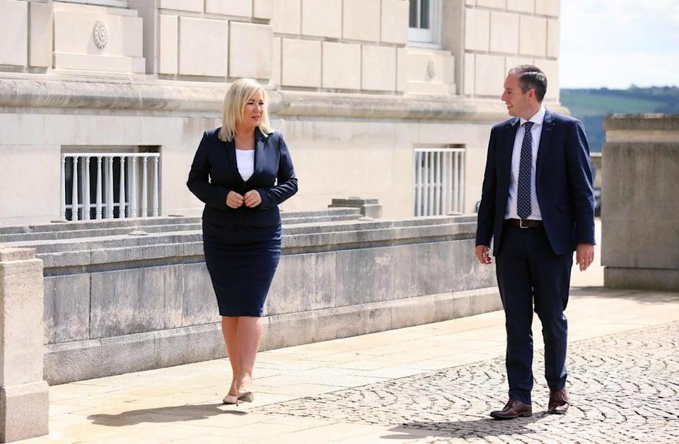 Paul Givan and Michelle O'Neill urged people to continue to follow public health guidance (Kelvin Boyes/Press Eye/PA) (PA Media)