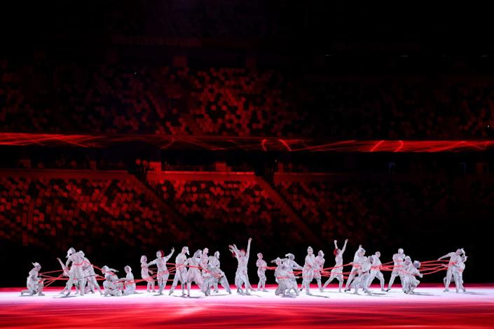 <p>Dancers took the stage for a choreographed routine during the Opening Ceremony. The performance was geared towards television, as very few spectators were allowed to watch the performance live. </p>