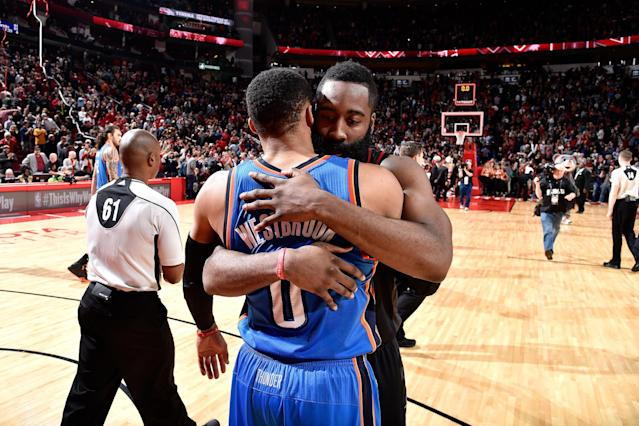 """Top MVP candidates and former teammates <a class=""""link rapid-noclick-resp"""" href=""""/nba/players/4390/"""" data-ylk=""""slk:Russell Westbrook"""">Russell Westbrook</a> and James Harden promise to deliver fireworks in the first round. (Getty Images)"""