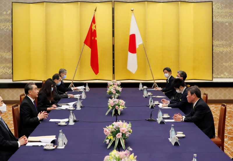 China's State Councilor and Foreign Minister Wang Yi meets with his Japanese counterpart Toshimitsu Motegi in Tokyo