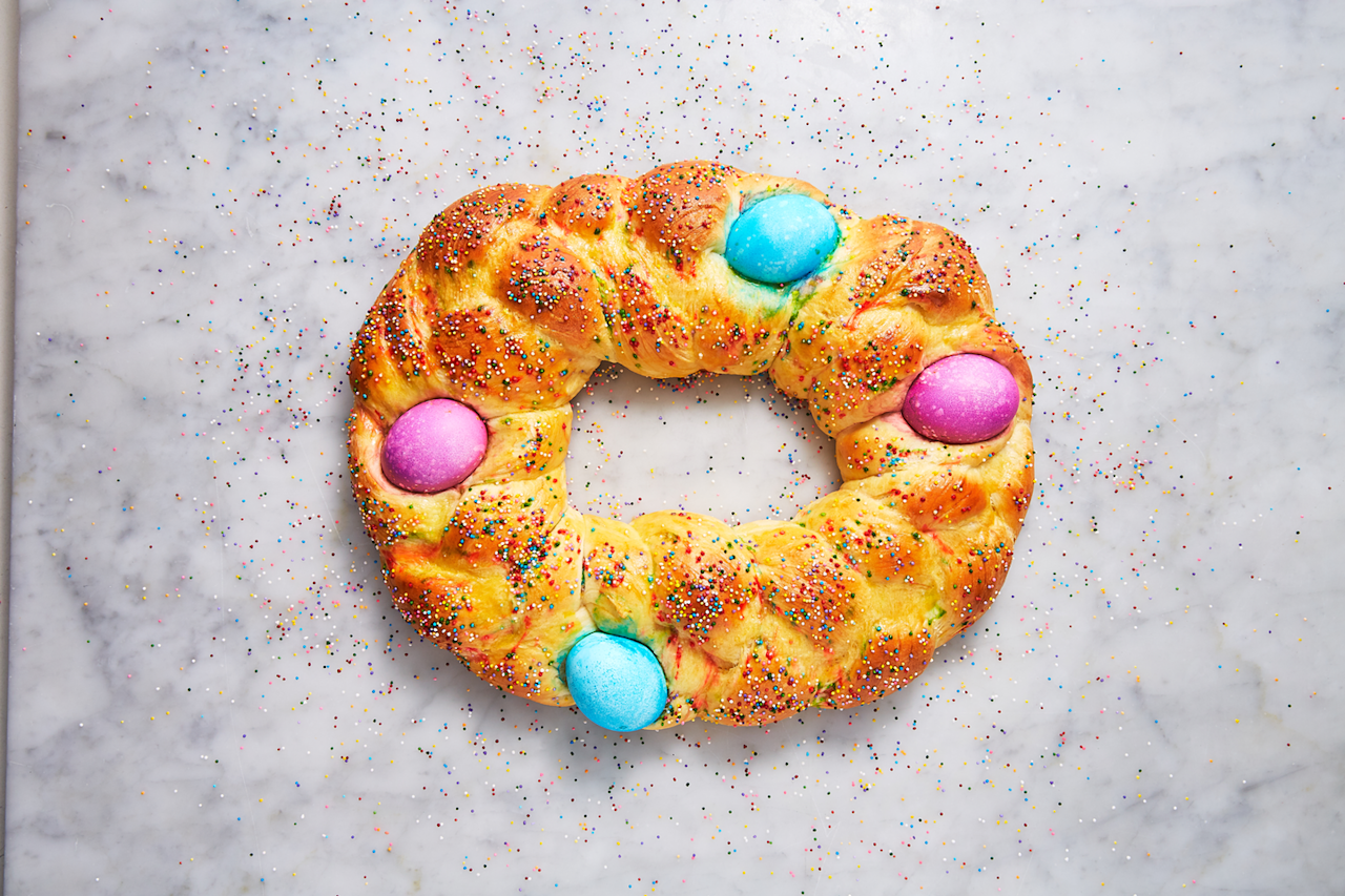 "<p>This Italian and Greek tradition could not be more festive. </p><p>Get the recipe from <a href=""https://www.delish.com/cooking/recipe-ideas/a26965839/easter-bread-recipe/"" target=""_blank"">Delish</a>. </p>"
