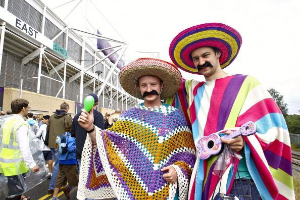 COVENTRY, ENGLAND - JULY 29: Mexican fans cheer for their team wearing traditional Mexican hats prior a match between Mexico and Gabon as part of the first round of the Group B, London 2012 Olympic Games on July 29, 2012 in Coventry, England. (Photo by LatinContent/Getty Images)