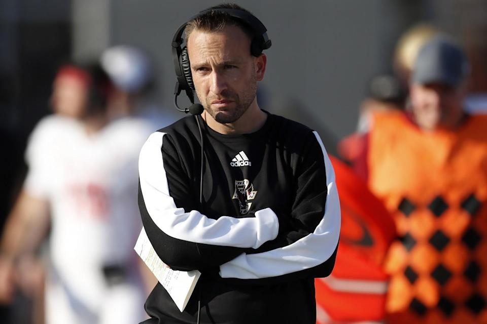 Boston College coach Jeff Hafley looks on during a game against Massachusetts on Sept. 11.