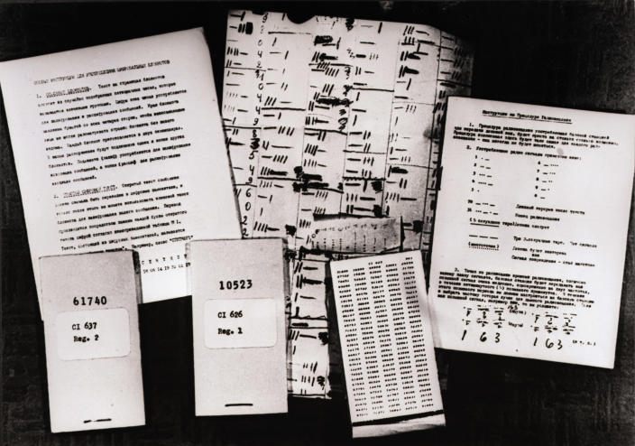 The spying material — codes, notebooks, instructions for using them and radio casting procedure — which Tass, the official Soviet news agency, alleges was used by Oleg Penkovsky, a Russian scientific worker accused of spying for Britain and the United States in 1962. (Photo: Bettmann/Getty Images)