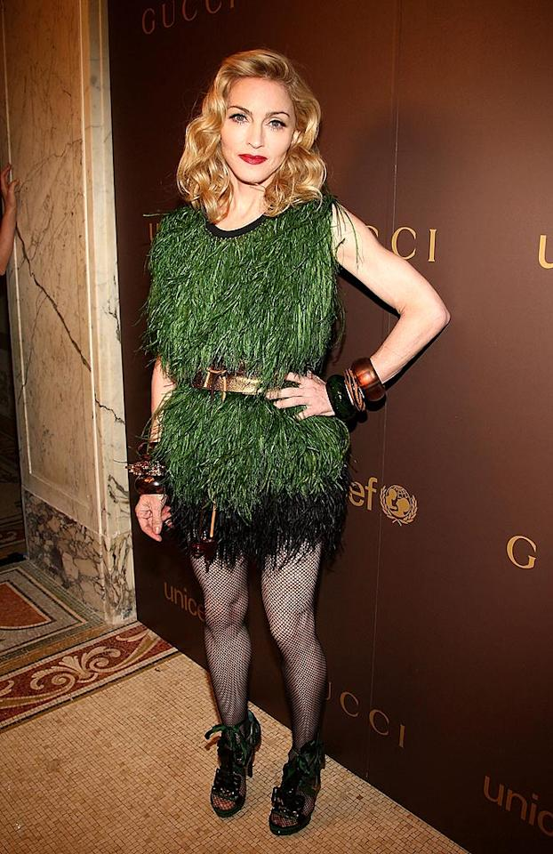 """A few months ago, Madonna arrived at the Gucci-sponsored UNICEF benefit in this ghastly grassy getup. It's too bad, because her face and hair were flawless. Theo Wargo/<a href=""""http://www.wireimage.com"""" target=""""new"""">WireImage.com</a> - November 19, 2008"""